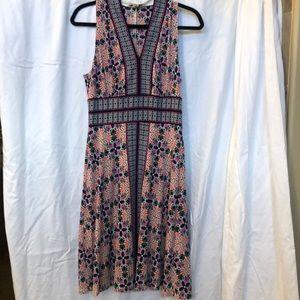 V neck fitted A line dress